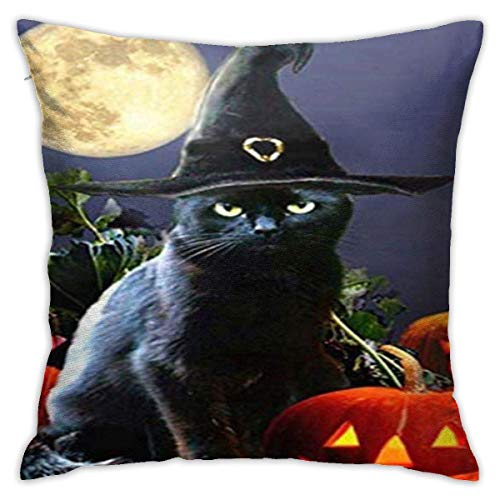 ChenZhuang Black cat Wizard and Jack-o-Lantern Cotton Linen Pillow Case Sofa Home Bedroom Car Cushion Cover Decoration 18'' x.