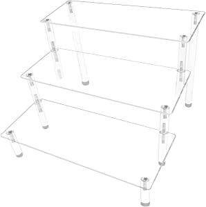 AZEAM Acrylic Display Risers,Clear Display Risers Stand Shelf 3 Tiered Cupcake Stand Holder Perfect for Food Desserts Display Toys Collections Cosmetic Products Tabletop Use(8 x 8 x 6 Inch)