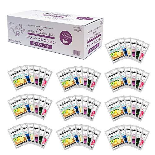 [Amazon限定ブランド] ここちバス バスクリン 入浴剤 アロマスパークリング 天然アロマ 6種 60包入り 個包装 詰め合わせ 【医薬部外品】