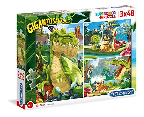 Clementoni - 25249 - Supercolor Puzzle - Gigantosaurus - 3X48 Pezzi - Made In Italy - Puzzle Bambini 4 Anni +
