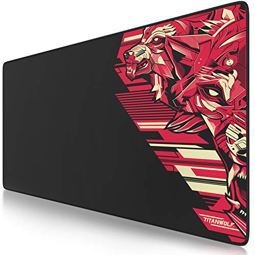 TITANWOLF - XXL Tappetino per Mouse da Gioco - Gaming Mousepad Extra Grande 900 x 400mm - Pad con Base in Gomma Antiscivolo - Spessore 3mm - Design Vector Red