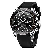 BENAYR Orologio Uomo analogico al quarzo cronografo Moda Sportivo orologio da polso da uomo Cinturino in silicone 30M impermeabile Elegante Regalo per Uomo