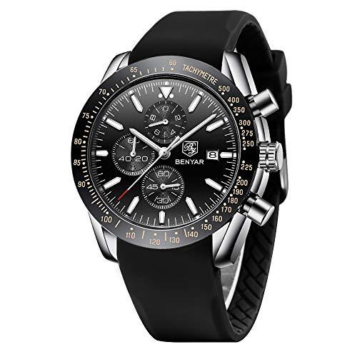 Relojes Hombre BENYAR Cronógrafo Analógico Cuarzo 3bar Impermeable Silicona Deportivo Diseño Casual de Negocios Relojes de Pulsera Regalo Elegante para Hombre