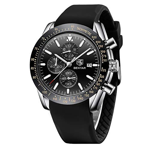 BENYAR Armbanduhr für Männer Herren Uhr Chronograph Analogue Quartz Silikonband Wasserdicht 30M Mode Mode Sport Armbanduhr Elegantes Geschenk