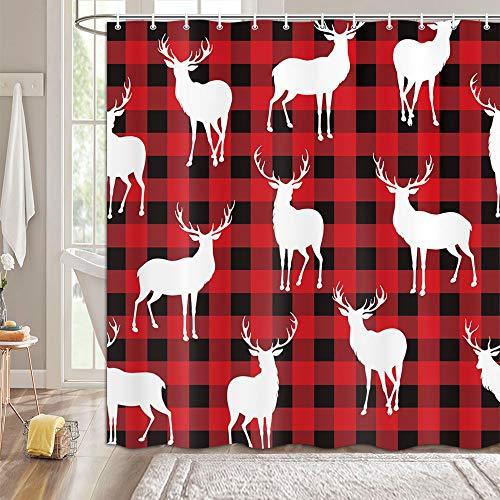 MERCHR Rustic Deer Shower Curtain with Hooks, Buffalo Plaid Check Bathroom Curtains White Moose Elk Reindeer, Cabin Shower Curtain Modern Design 69X70 Black Red