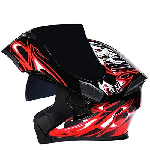 Balscw Casco Modular De Moto Flip Up Casco De Moto De Carreras con Doble Visera Mujeres Hombre Cara Abierta Cascos De Moto Dot Cascos Integrales De Moto,Red B-3XL(63-64cm)