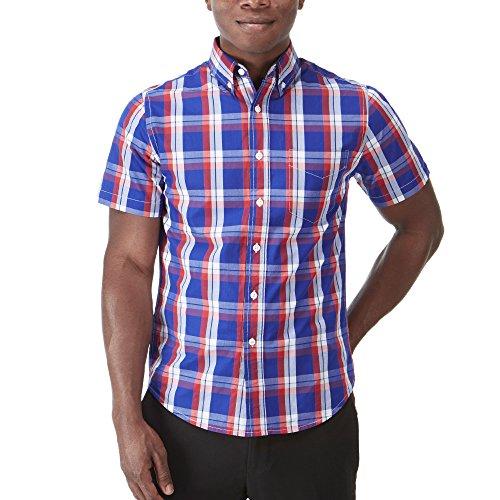 Charles Wilson kurzärmliges klassisch Kariertes Kattun Freizeithemd (Small, Rot & Marineblau)