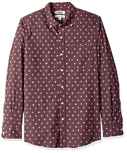 Amazon-Marke: Goodthreads Herrenhemd, langärmlig, schmale Passform, bedruckt, aus Popeline, burgundy heather leaf print, US L (EU L)