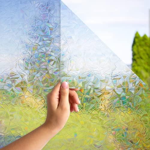 MARAPON® Sichtschutzfolie Fenster Regenbogeneffekt [30x200 cm] inkl. eBook mit Profitipps - statische Haftung - Fensterfolie selbsthaftend Blickdicht - 3D Dekorfolie Milchglasfolie