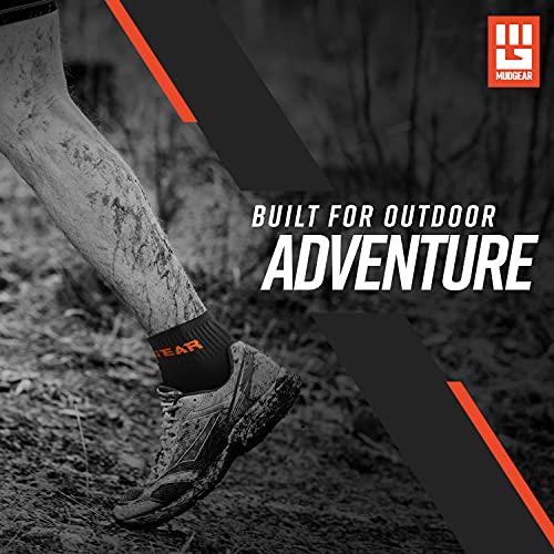 MudGear Quarter Length Trail Running Socks - Men and Women - Running, Hiking, Cycling, and More, 2-Pack (Black/Orange, Large)