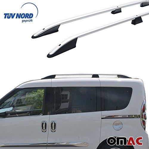 OMAC – Barra de techo de aluminio para Combo/Doblo 2010-2020, portaequipajes gris con TÜV ABE específico para vehículos