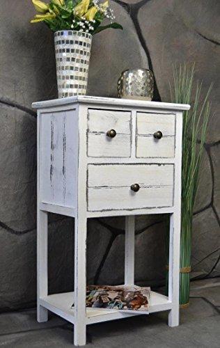 Livitat® Kommode Telefontisch mit Schubladen Landhaus Chic Used Look Vintage 70 cm Höhe LV1025 (Shabby)