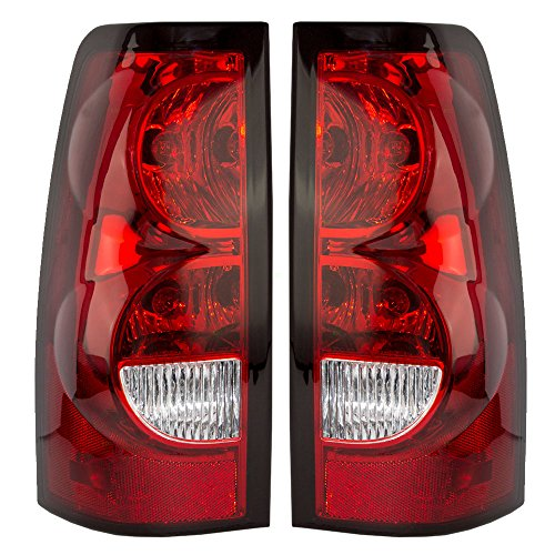 Taillights Tail Lamps Driver and Passenger Replacement for 04-07 Chevrolet Silverado Fleeside Pickup 19169004 19169005