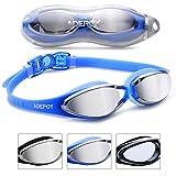 Adepoy - Gafas de natación antivaho, visión transparente con protección UV, sin fugas, fáciles de ajustar, cómodas para adultos, hombres, mujeres, color negro y azul, ., #A-Azul (versión de espejo).