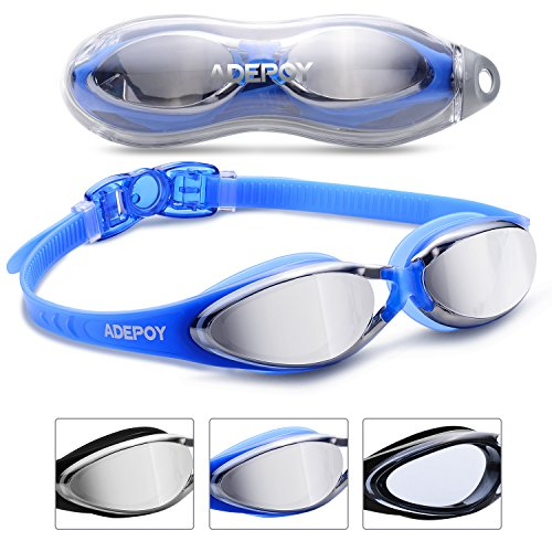 Adepoy Swimming Goggles Anti Fog Crystal Clear Vision with UV...