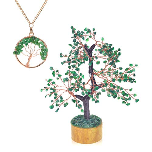 Ever Vibes Green Jade Chakra Healing Tree Home Décor [Bonus Necklace] for Fortune, Wealth & Good Luck | Handmade Money Tree of Life Feng Shui Bonsai with Natural Reiki Gemstones