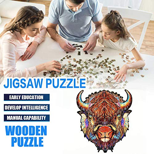 N / N Jigsaw Puzzle Wooden 5mm Thick Cow Puzzle Toy Laser Cutting Craft Children's Puzzle 100 Pieces, Animal Shaped Jigsaw, Gifts for Mom Dad, Gift for Friend, Gift for Men Women