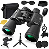 12x50 HD Full Size Binoculars for Adults with Photography Kit - Smartphone Adapter Universal Tripod Carrying Bag & Strap...