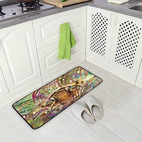 Mnsruu Tapis de Sol Aquarelle en Feuille de Palmier et Tigre pour Cuisine 50 x 100 cm