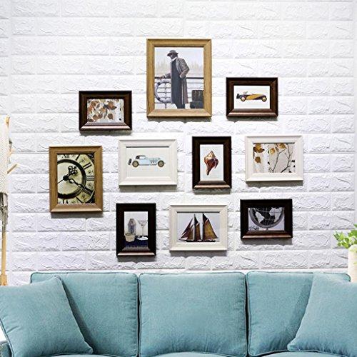 QX IAIZI 10 Stück Holz Bilderrahmen, Collage Fotorahmen Wand, Bilderrahmen für Bild, Porta Retrato Moldura, Vintage Bilderrahmen (Farbe : B)