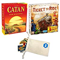 Catan 5th Edition and Days of Wonder's Ticket to Ride Bundle | Includes Convenient Drawstring Storage Pouch with Game Players Logo Printed [並行輸入品]