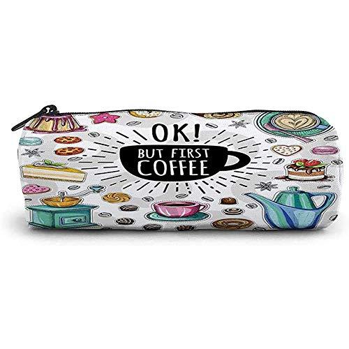 RGFDFi Organizer Pencil Case, aber erster Kaffee, Gruppe von Lebensmitteln und Getränken um Kaffee leckeres Gebäck, mehrfarbig verstreut