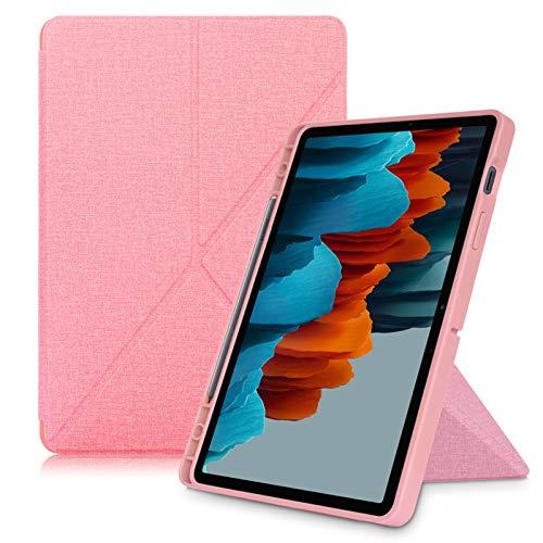 MPWPQ Caso per Samsung Galaxy Tab S7 Plus 12,4 Pollici Tablet, Coperchio del Supporto per la Scheda Galaxy S7 SM-T870   T875, con portamatite (Color : Pink, Size : Tab S7 11 inch)