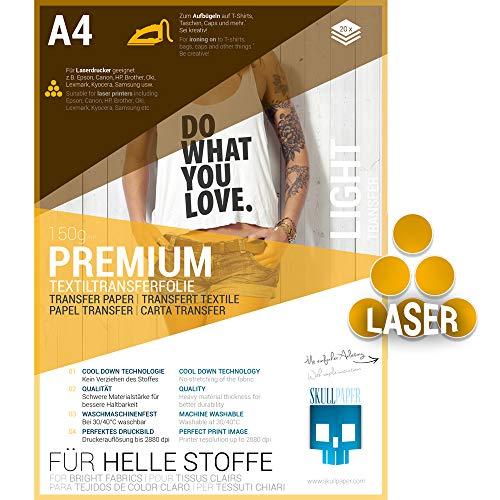 SKULLPAPER® Transferfolie für HELLE Stoffe - für Laserdrucker - inkl. 200+ Motive (A4-20 Blatt)