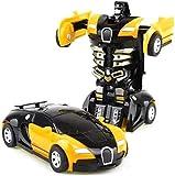 jouet Robots de voiture Modèles Télécommande Cars Déformation Toy jouet Toddlers Véhicule électrique Jouets Jeux Cadeaux Pour Anniversaire Noël (Couleur: Rouge) Modèle de jouet ( Color : Yellow )