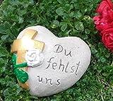 Rada Grabherz Herz Spruch - Du fehlst Uns - Grabschmuck Gartenherz Dekoherz Steinguss Kreuz Gold Farbe