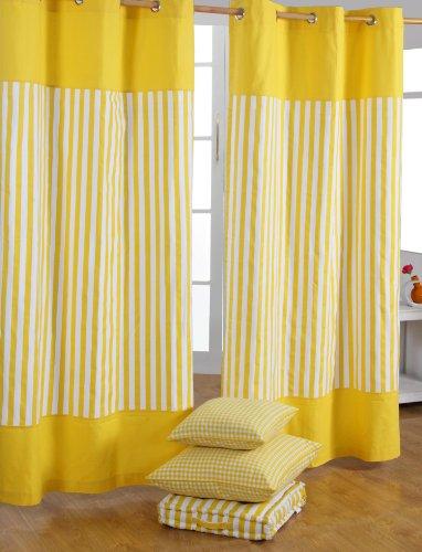 Homescapes dekorativer Vorhang Ösenvorhang Dekoschal Thick Stripes im 2er Set, gelb weiß, 117 x 137 cm (Breite x Länge je Vorhang), 100prozent reine Baumwolle
