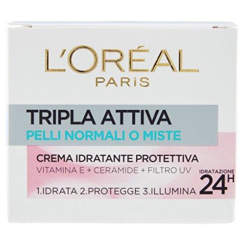 L Oréal Paris Tripla Attiva Crema Viso Idratante Protettiva Giorno per Pelli Normali o Miste, 50 ml