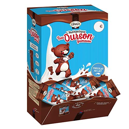 Cémoi Boite Distributeur l'Authentique Petit Ourson Guimauve Chocolat au Lait 80 Pièces Emballés Individuellement 1 kg