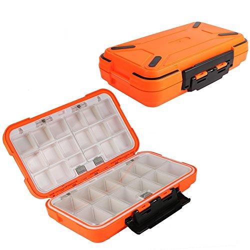 Goture Caja de aparejos de pesca de plástico con gancho giratorio para anzuelo, gran almacenamiento, Grande/naranja.