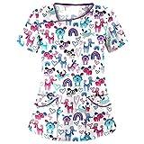 Tops de Mujer Uniforme de Trabajo Uniforme Estampado Camisa de Manga Corta Blusa con Cuello en V, St. Patrick's Day Trabajo Enfermera Médicas Bolsillo Uniforme SPA Salón de Belleza Ropa