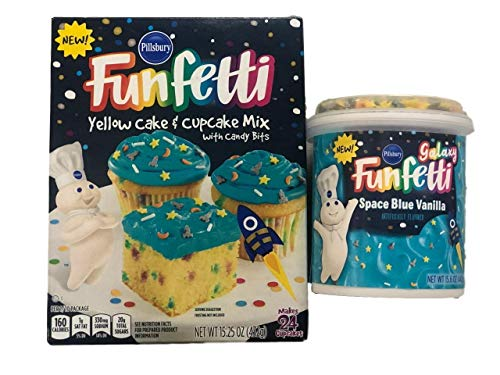 Pillsbury Space Galaxy Birthday Cake and Cupcake Bundle Funfetti Mix with Space Blue Vanilla Frosting and Sprinkles