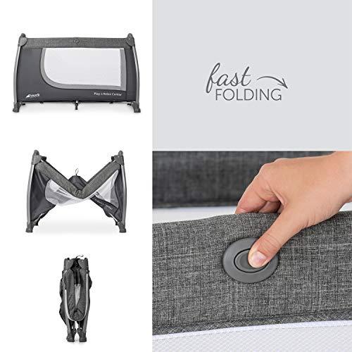 Hauck Play'n Relax Center Reisebett, 7-teiliges, ab Geburt bis 15 kg, faltbar und kippsicher, mit Neugeborenen Einhang, Wickelauflage, seitlicher Ausstieg, Netztasche, Räder, Transporttasche, grau - 6
