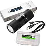 Olight i1R EOS 130 lumen tiny rechargeable LED keychain flashlight, battery, USB cable with EdisonBright cable carry case