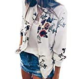 Outtop(TM) Women's Ladies Retro Floral Zipper up Bomber Jacket Casual Coat Outwear Medium