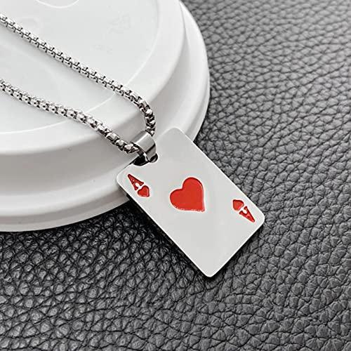 CXWK Rojo, Negro, Color Plateado, Lucky Ace of Spades, Collar de Acero Inoxidable para Hombre, Colgante de póquer, joyería de Naipes de la Fortuna