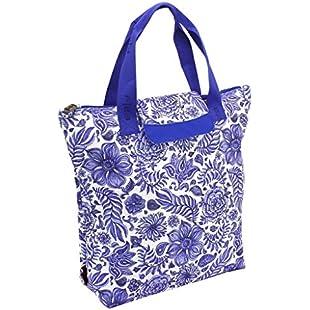 F|23 FaltbareEinkaufstasche, SHOPPERS'DELIGHT, Porzellan, Polyester, Blau/Weiss Canvas & Beach Tote Bag, 43 cm, 21 liters, Blue (Blau/Weiss):Dailyvideo