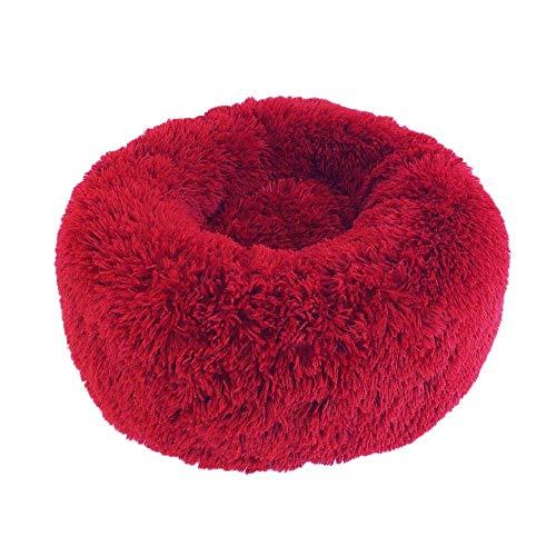 Leyue Cama de Gato de Perro de Peluche, calmando Suave cómodo Donut Cuddler, Piel de Cachorro de Piel sintética para Perros pequeños para Dormir para Dormir (50 cm, Rojo)