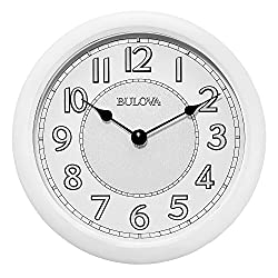 Bulova C4842 Versatile Stereo Bluetooth Wireless Speakers Indoor-Outdoor Lighted Dial Wall Clock, White