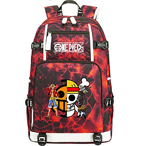 ZZGOO-LL One Piece Monkey·D·Luffy/Trafalgar Law Backpack Casual Rucksack Waterproof Business Travel with USB Unisex-A