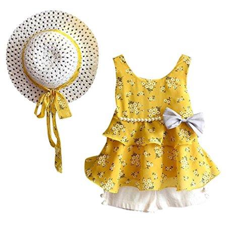 Hirolan Bekleidung 3 Stück Kleinkind Baby T-Shirt+Shorts Kurze Hosen +Sonnenhut Kind Mädchen Outfits Kleider Blumen Weste Sommerkleidung Chiffon Strampler Spielanzug (90, Gelb)