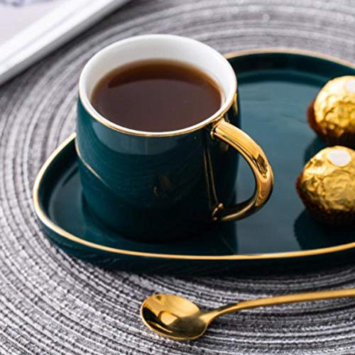 Tasse Becher Kaffeehaus Hotel Unisex 5 Farben optional Nordische Keramik Hohe Kapazität Becher Löffel mit Deckel Goldener Rand Europäischer Stil KaffeetassePaar Tasse Frühstückstasse grün D 200ml