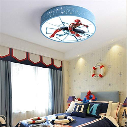 Dibujos animados de niños Lámpara de techo LED para niños Decoración de dormitorio azul Azul Lámpara de techo redondo Kindergarten Aprendizaje de interiores (Body Color : Si)