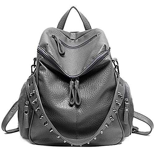 UTO Women Backpack Purse 3 ways PU Washed Leather Rivet Studded Ladies Rucksack Shoulder Bag B Grey