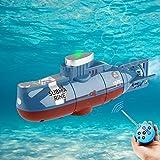Seamuing Mini RC Submarino Control Remoto Barco Recargable RC Submarino Electrónico Agua Juguete Impermeable Buceo para Piscina Tanque de Peces Niños Regalo