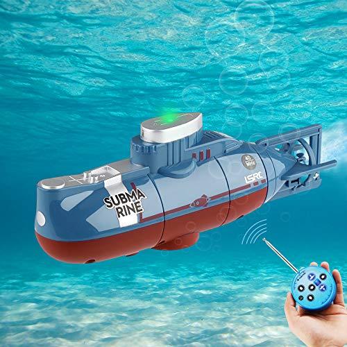 Seamuing Mini Fernbedienung U-Boot Wiederaufladbares RC-U-Boot Elektronisches Wasserspielzeug Wasserdichtes Tauchen für Pool Aquarium Kinder Geschenk